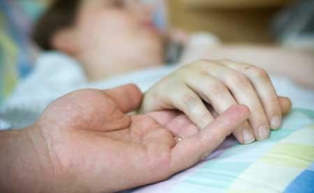 foto van ziek persoon in bed